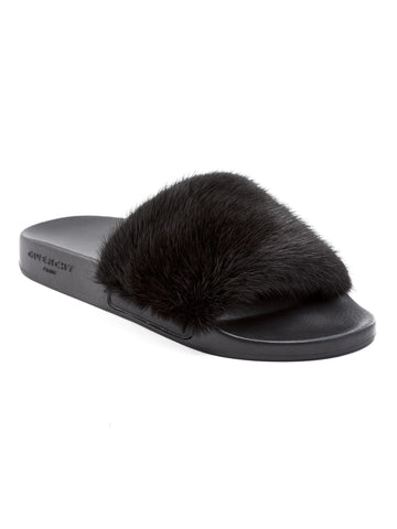 GIVENCHY MINK FUR BLACK RUBBER SLIDES SANDALS SLIP ON SS17