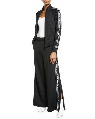 t Alexander Wang Terry French Black White Logo Track Wide Leg Snap Up Pants