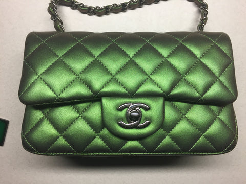 Chanel Mini Iridescent Green Classic Leather Metallic Handbag Cross Body Bag