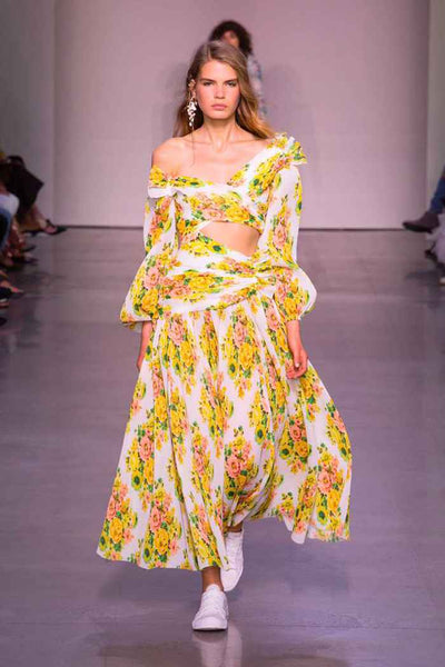 Zimmermann Golden Surfer Ruched Crepe Floral Print One Sleeve Maxi Dress