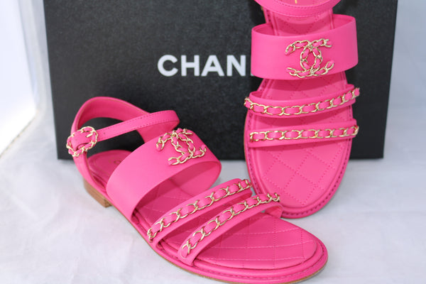 CHANEL DOUBLE STRAP CHAIN HOT PINK FUCHSIA FLATS FLAT SANDAL SANDALS SHOES