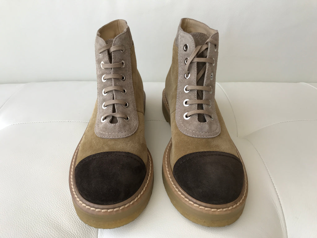 a7a3ca9af1718 ... CHANEL BEIGE DARK BROWN CAP TOE SUEDE LACE UP ANKLE COMBAT BOOTS BOOTIES  ...