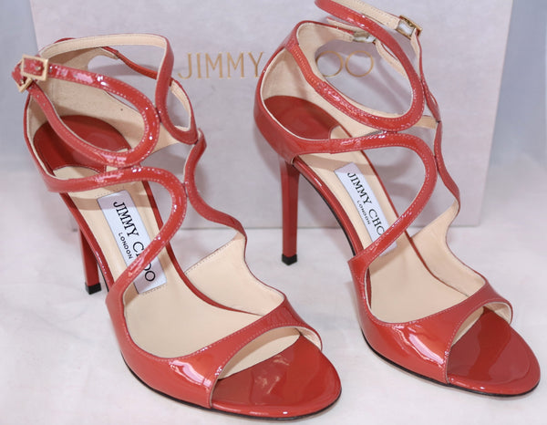 JIMMY CHOO LANG 100 AGATE PATENT LEATHER STRAPPY OPEN TOE SANDAL SANDALS PUMP