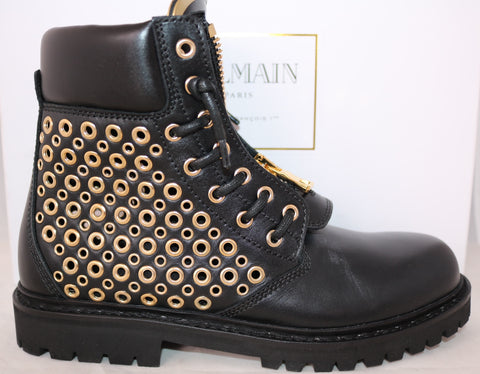 BALMAIN TIA BLACK LEATHER GROMMET PERFORATED TUNDRA ANKLE BOOT BOOTS