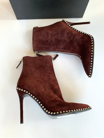 Alexander Wang Eri Studded Cranberry Pull On Studded Ankle Booties Boots
