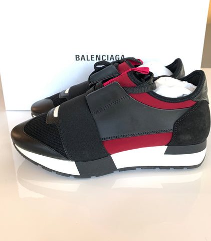 Balenciaga Race Runner Mixed Media Black Cranberry Red Low Top Sneakers Shoes