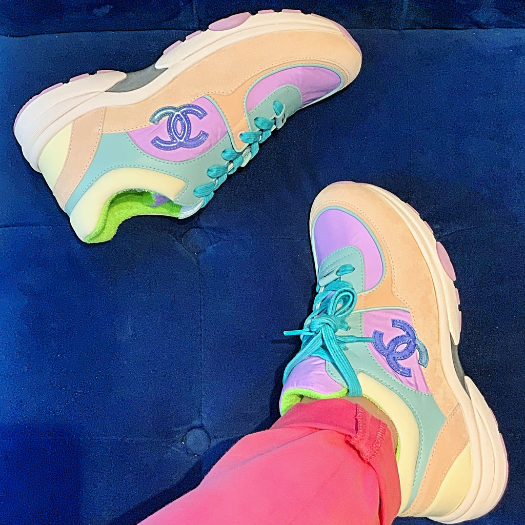 Chanel 19C CC Logo Green Purple Pink Suede Lace Up Sneakers Trainers