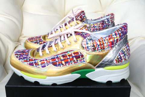 2015 CHANEL CC LOGO MULTI COLOR GOLD TWEED SNEAKERS TENNIS SHOES TRAINERS