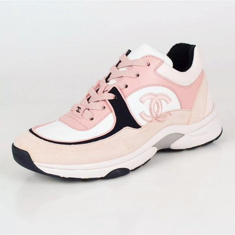 Chanel Light Pink CC Logo Cruise 19 Suede Sneakers