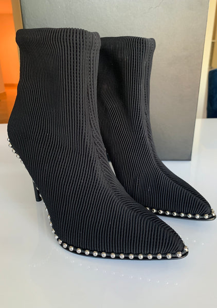Alexander Wang Eri Stretch Sock Black Pull on Studded Ankle Booties Boots