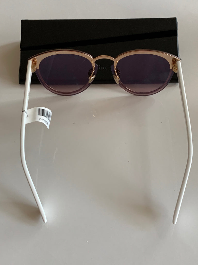 1f42be2e0 ... $595 Dior Nightfall Pink Metallic Rose Gold Gradient White Round  Sunglasses NWT ...