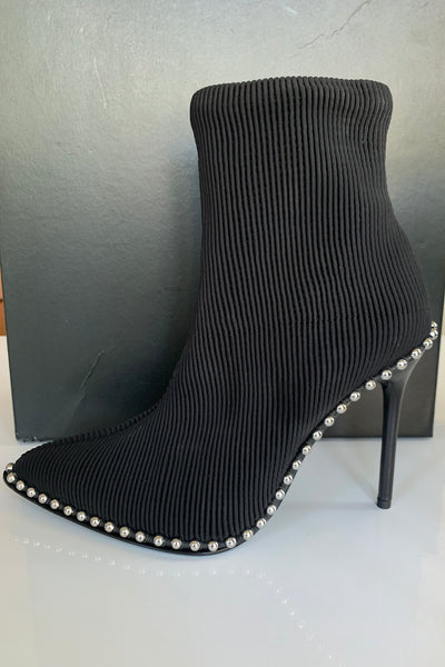 Alexander Wang Eri Stretch Sock Black Pull Ok Studded Ankle Booties Boots