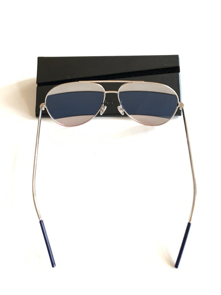 Dior Blue Lense Gray Split Aviator Sunglasses NWT
