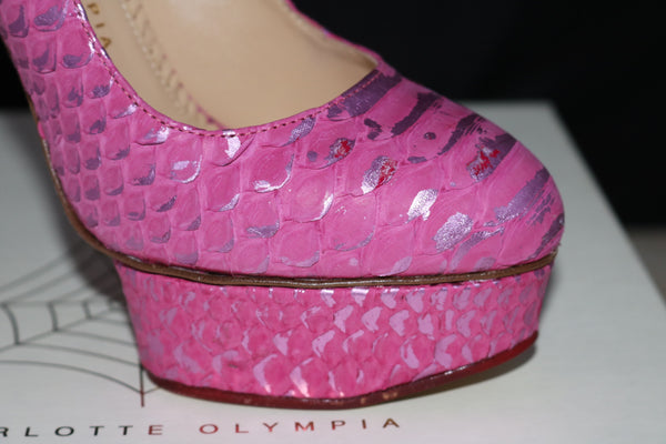 CHARLOTTE OLYMPIA PRISCILLA PYTHON PINK FUCHSIA PLATFORM SHOES PUMPS