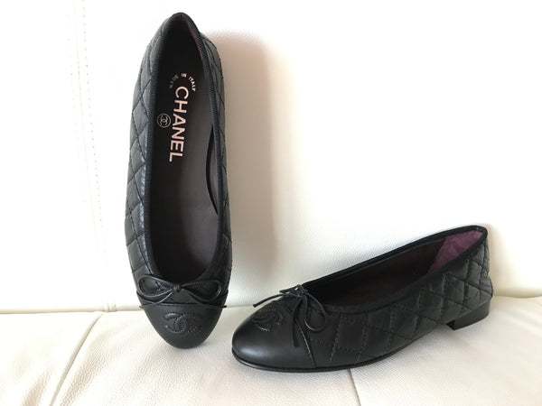 2017 CHANEL BLACK LEATHER QUILTED CAP TOE BALLET BALLERINA FLAT FLATS SHOES