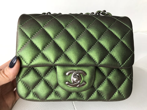 Chanel Mini Square Iridescent Green Classic Leather Metallic Handbag Cross Body Bag