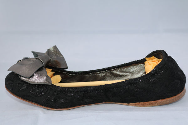 MIU MIU BLACK BOW STONES BROOCH BALLET JEWEL JEWELLED FLAT FLATS SHOES 37