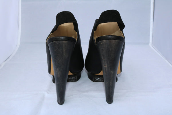 NICHOLAS KIRKWOOD BLACK LEATHER PLATFORM OPEN TOE WOODEN HEEL SLINGBACK SHOES PRE-OWNED 38.5