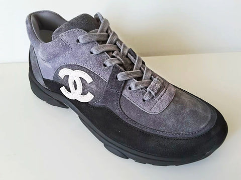 Chanel 19C CC Logo Black Gray Suede Lace Up Sneakers Trainers Cruise
