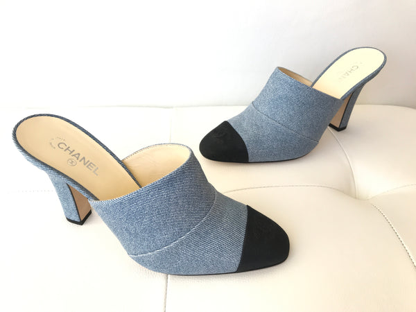 Chanel Blue Denim Mule Black Cap Toe CC Sandal Heel Pumps Mules Slides
