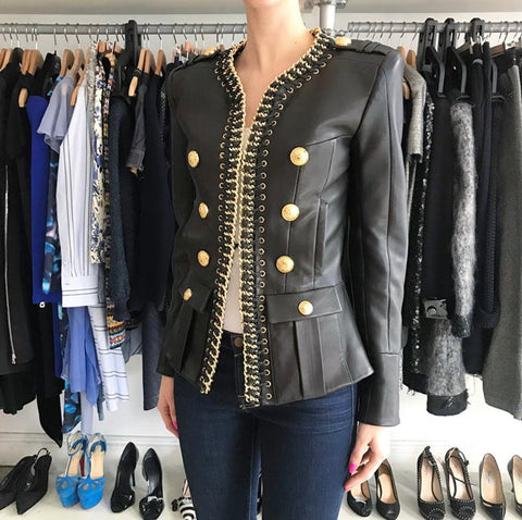 Balmain Black Leather Gold Chain Embellished Double Breasted Jacket Blazer