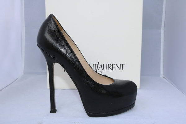 $795 YSL YVES SAINT LAURENT TRIBTOO 105 BLACK GRAINED LEATHER PLATFORM PUMP SHOES PRE-OWNED