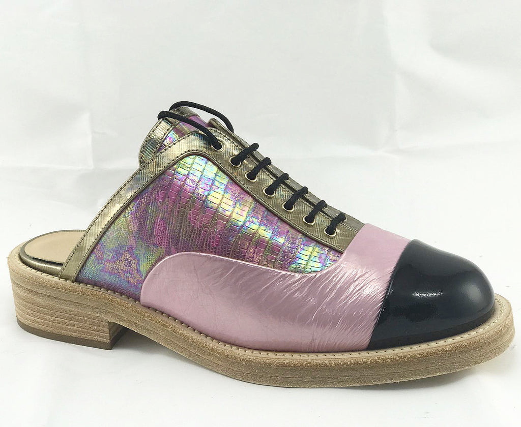 CHANEL CUBA GOLD PINK RAINBOW OXFORD CAP TOE SLIDES SHOES OXFORDS MULES