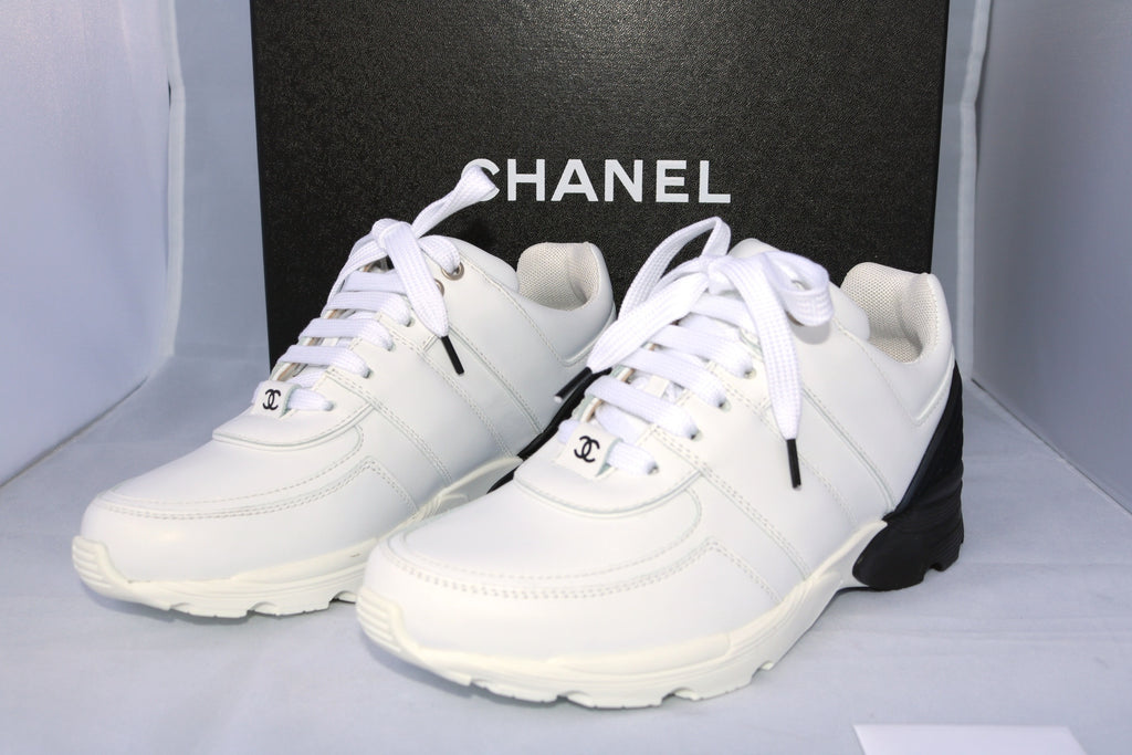 chanel trainers womens. chanel 2016 cc logo white black leather mesh sneakers tennis shoes trainers chanel trainers womens a