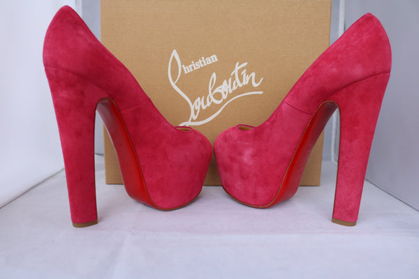 CHRISTIAN LOUBOUTIN SHAMELESS DAF SUEDE HIDDEN PLATFORM PIVOINE PINK FUCHSIA PEEP OPEN TOE HEELS SHOES PUMPS