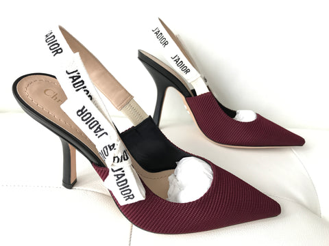 DIOR J'ADIOR BURGUNDY FABRIC TEXTURED RIBBON SLINGBACK LEATHER HEELS
