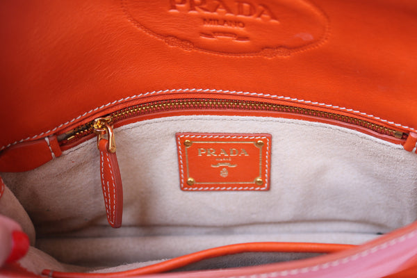 PRADA CLASSIC CANAPA ORANGE LEATHER FLAP LOGO CLUTCH POUCH HANDBAG BAG PURSE PRE-OWNED