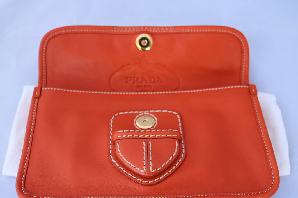 c0b2124acfa0b3 ... PRADA CLASSIC CANAPA ORANGE LEATHER FLAP LOGO CLUTCH POUCH HANDBAG BAG  PURSE PRE-OWNED ...