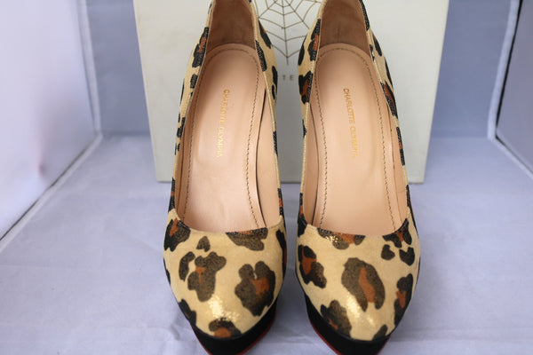 CHARLOTTE OLYMPIA DOLLY LEOPARD BEIGE GOLD BLACK SUEDE FIGURE HEEL PLATFORM BROWN PUMPS PRE-OWNED