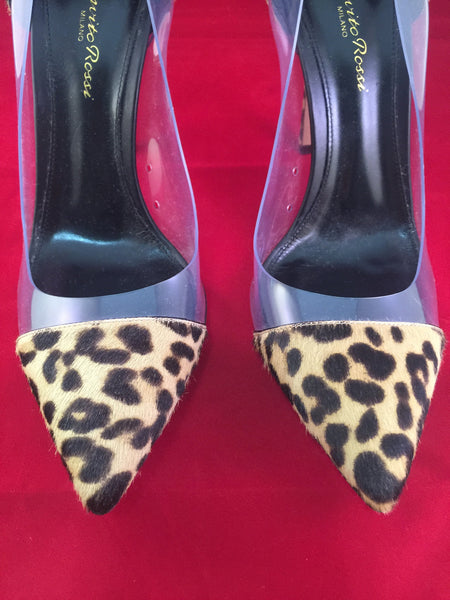 GIANVITO ROSSI 100 LEOPARD PONY HAIR CLASSIC PVC TRANSPARENT PUMPS SHOES WORN INDOORS