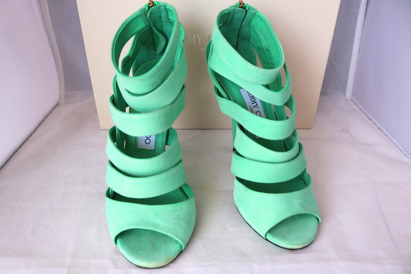 $995 JIMMY CHOO DAMSEN DAMEN GREEN MENTHE PEPPERMINT SUEDE OPEN TOE SHOES