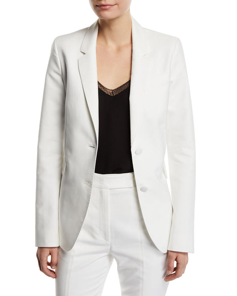 Gabriela Hearst Sophie Ivory Off White Single-Breasted Cotton Blazer Jacket 36