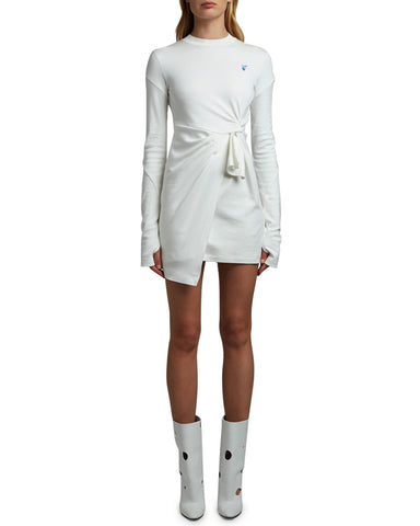 Off-White Mariacarla White Sweatshirt Long Sleeves Wrap Dress