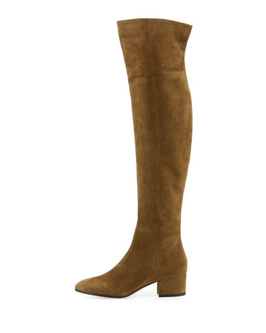 Gianvito Rossi Rolling Mid 45 mm Brown Suede Over the Knee Military Boot Boots
