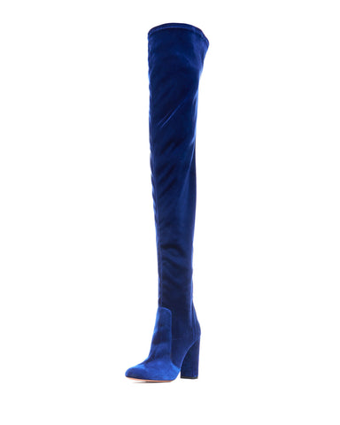 AQUAZZURA VELVET 105 THIGH HIGH MIDNIGHT BLUE ZIP OVER KNEE BOOT BOOTS