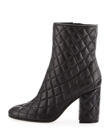 Gianvito Rossi Quilted 100 mm Napa Black Leather Ankle Boots