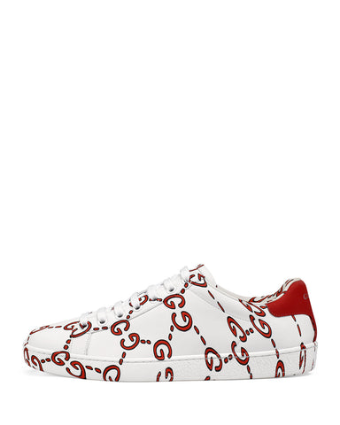Gucci Ace GG Print Logo White Red Low Top Leather Sneakers