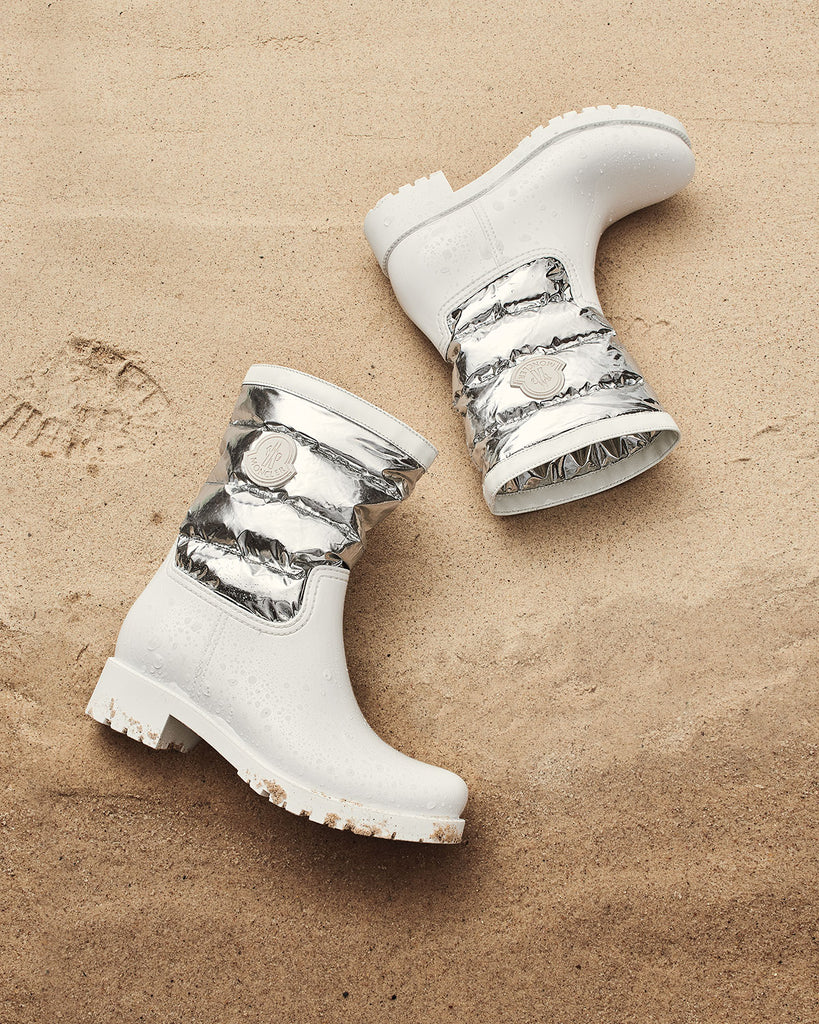 Moncler Gisele White Rubber  PVC and Silver Metallic Puffer Nylon Waterproof Rain Boots