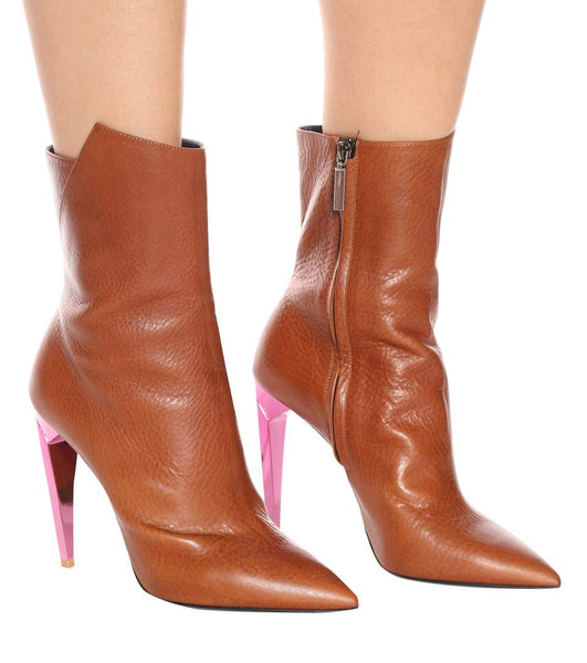 Saint Laurent Freja Leather Brown Tan Pink Spiked Heel Ankle Booties Boots