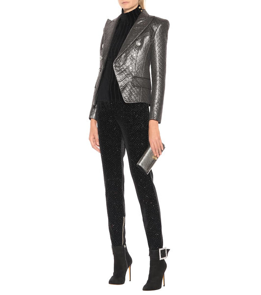 Balmain Dark Silver Quilted Metallic Double Breasted Jacket Blazer