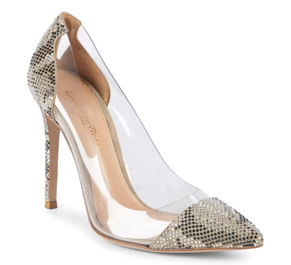 GIANVITO ROSSI 100MM PLEXI TEXTURED PVC EMBELLISHED LIGHT GRAY POINT TOE PUMPS