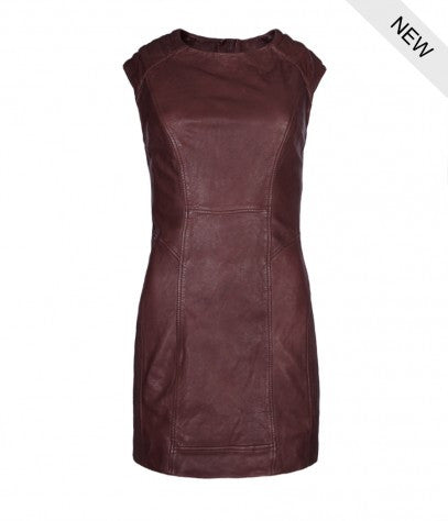 ALL SAINTS BIKER LEATHER BURGUNDY CAP SLEEVES MINI ZIPPER DRESS