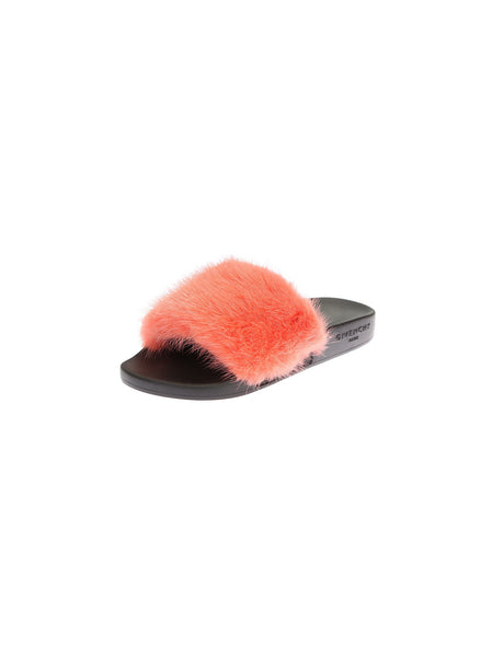 GIVENCHY MINK CORAL FUR RUBBER BLACK SLIDES SANDALS