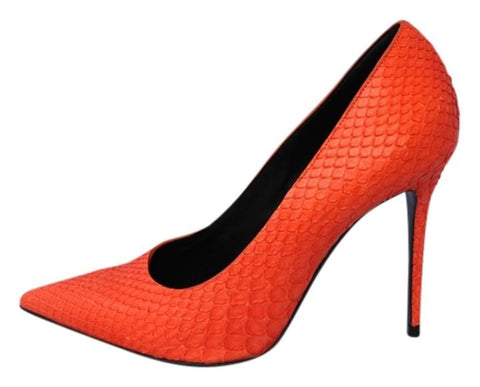 CELINE PYTHON ORANGE HOT CLASSIC SNAKESKIN SNAKE POINTED PUMPS PUMP SHOES PRE-OWNED 37.5