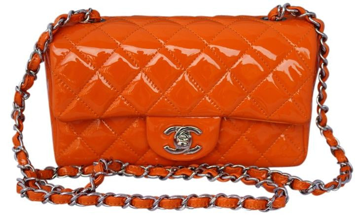 Chanel 2014 Mini Classic CC Logo Quilted Leather Patent Single Flap Handbag Small Orange Cross Body Bag Chain