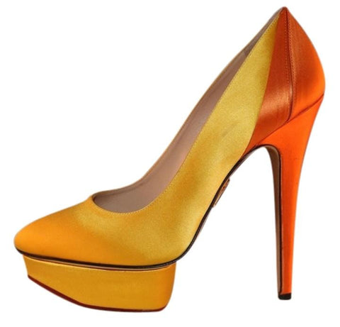CHARLOTTE OLYMPIA MASAKO COLORBLOCK YELLOW/ORANGE SATIN PLATFORM PUMPS SHOES